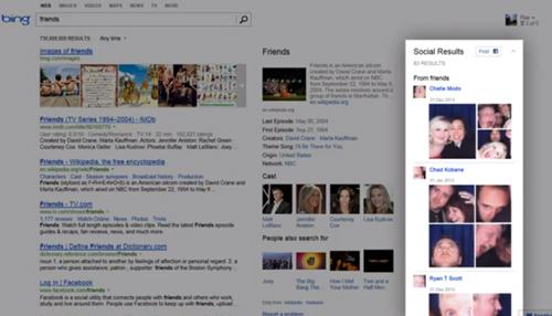 Bing risultati social